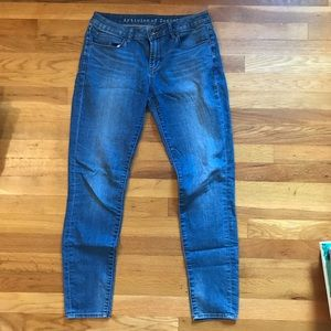 Blue stretchy straight leg jeans